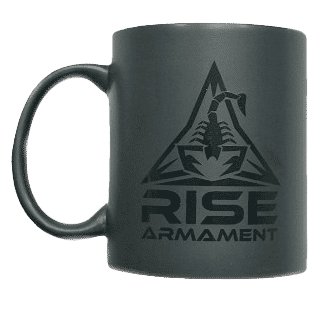 RISE Armament Matte Black Coffee Mug, Scorpion Logo